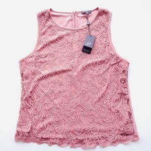 NWT ADRIANNA PAPELL Pink Lace Tank Size XL